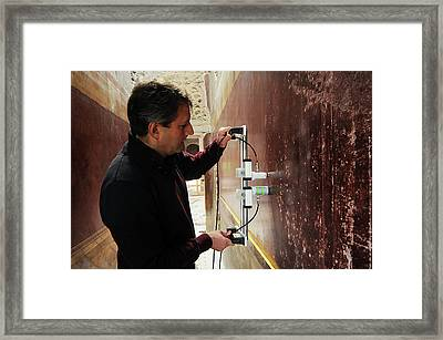 Restoration Of Roman Frescoes Framed Print by Pasquale Sorrentino