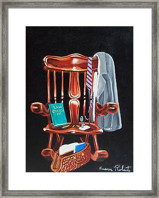 Framed Print featuring the painting Retiring Lawyer by Susan Roberts
