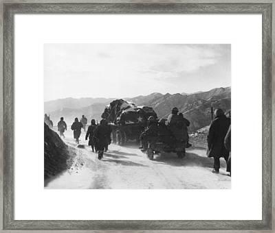 Retreat From Chosin Reservoir Framed Print by Underwood Archives