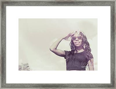 Retro African Woman In 1970s Fashion Accessories  Framed Print by Jorgo Photography - Wall Art Gallery