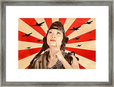 Retro Asian Pinup Girl. War Planes Of Revolution Framed Print by Jorgo Photography - Wall Art Gallery