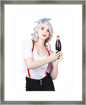 Retro Blond Woman With A Bottle Of Soda Framed Print