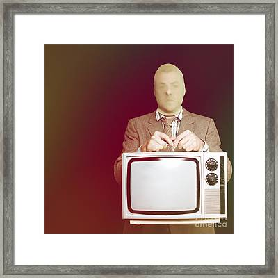 Retro Burglar Stealing Television On Black Framed Print by Jorgo Photography - Wall Art Gallery