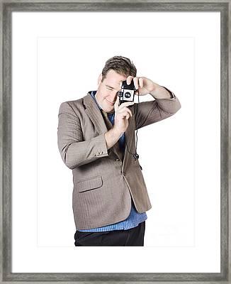 Retro Businessman Taking Portrait Photo Framed Print by Jorgo Photography - Wall Art Gallery