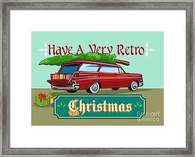 Retro Christmas Tree Station Wagon Framed Print by Aloysius Patrimonio
