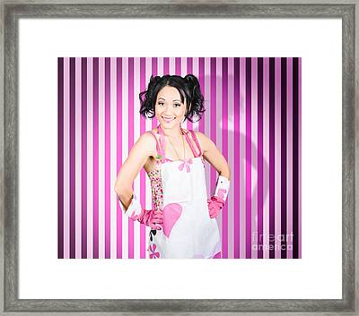 Retro Cleaning Service Maid With Smile Framed Print