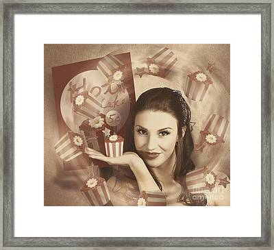 Retro Cupcake Poster Girl Adverting Baked Cake Framed Print by Jorgo Photography - Wall Art Gallery