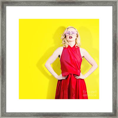 Retro Fashion Model Girl In Bright Summer Glasses Framed Print by Jorgo Photography - Wall Art Gallery