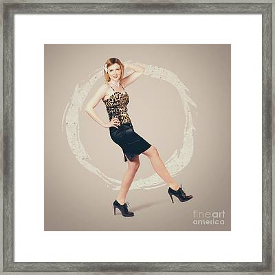 Retro Fashion Pin-up Girl In 80s Glamour Framed Print