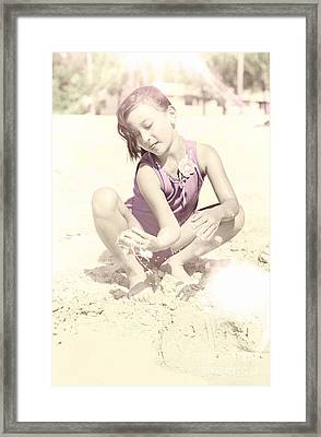 Retro Girl Playing In Beach Sand Framed Print by Jorgo Photography - Wall Art Gallery