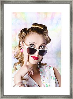 Retro Glam Model On Colourful Disco Dots Framed Print