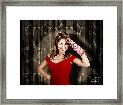 Retro Housewife Cook Giving 5 Star Food Service Framed Print