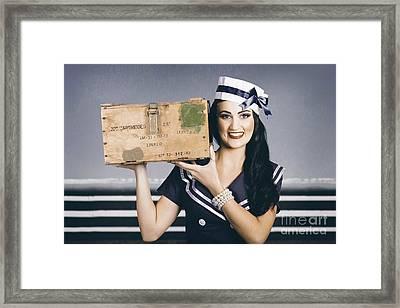 Retro Maritime Portrait. Woman In Sailor Fashion Framed Print