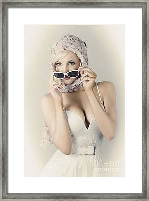 Retro Pin-up Girl In Classic Fashion Style Framed Print