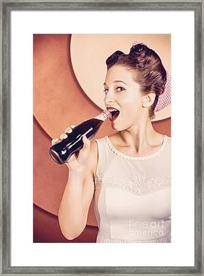 Retro Pin Up Pop Art. Soda Girl From 1950 Framed Print by Jorgo Photography - Wall Art Gallery