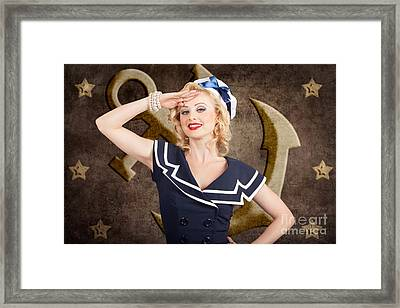 Retro Pin-up Sailor Woman. Retro 50s Fashion Style Framed Print by Jorgo Photography - Wall Art Gallery