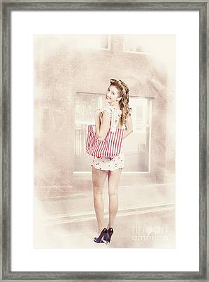 Retro Pin Up Woman Carrying Vintage Shopping Bag Framed Print