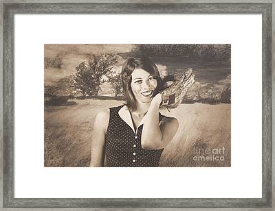 Retro Pinup Poster Girl Holding Baseball In Glove Framed Print by Jorgo Photography - Wall Art Gallery