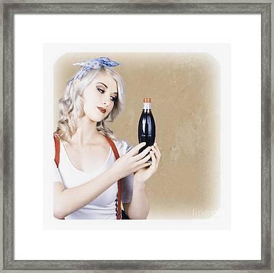 Retro Pop Art Girl. Vintage Texture Background Framed Print by Jorgo Photography - Wall Art Gallery