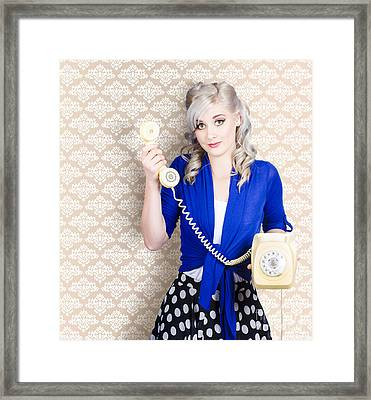 Retro Portrait Of A Woman Talking On Vintage Phone Framed Print by Jorgo Photography - Wall Art Gallery