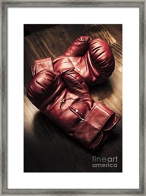 Retro Red Boxing Gloves On Wooden Training Bench Framed Print by Jorgo Photography - Wall Art Gallery