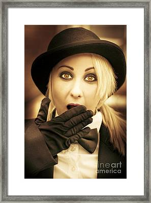 Retro Shock - Woman Looking Shocked Framed Print