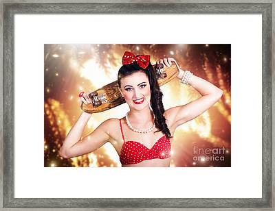 Retro Skate Pinup Girl In Cute Eighties Fashion Framed Print by Jorgo Photography - Wall Art Gallery