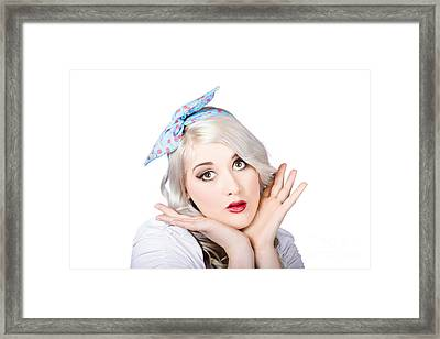 Retro Style Portrait Of A Blond Girl Framed Print by Jorgo Photography - Wall Art Gallery