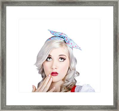 Retro Style Portrait Of A Blond Girl With A Bow Framed Print by Jorgo Photography - Wall Art Gallery