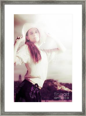 Retro Summer Woman Framed Print by Jorgo Photography - Wall Art Gallery