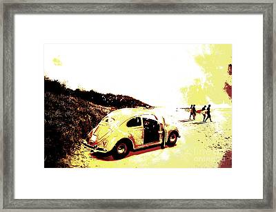 Retro Surfers Illustration Framed Print by Jorgo Photography - Wall Art Gallery