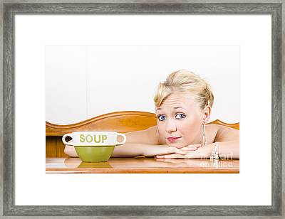 Retro Waiter With Soup Bowl At Restaurant Counter Framed Print by Jorgo Photography - Wall Art Gallery