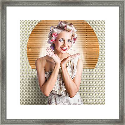 Retro Woman At Beauty Salon Getting New Hair Style Framed Print