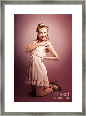 Retro Woman In 1960 Pin-up Fashion Dress Framed Print