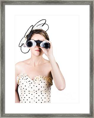 Retro Woman Looking Through Binoculars Framed Print by Jorgo Photography - Wall Art Gallery