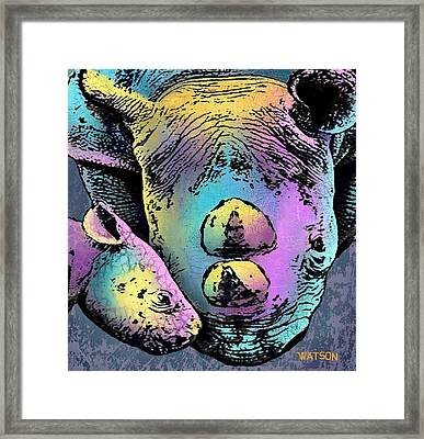 Rhino And Baby Framed Print