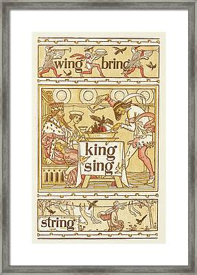 Rhyming Words Ending In The Letter G Framed Print by British Library