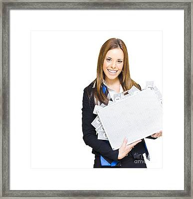 Rich Successful Business Woman Smiling With Money Briefcase Framed Print by Jorgo Photography - Wall Art Gallery