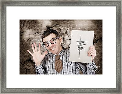 Richter The Male Nerd Seismologist In Earthquake Framed Print