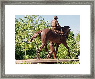 Rider In Bronze Framed Print by Roger Potts