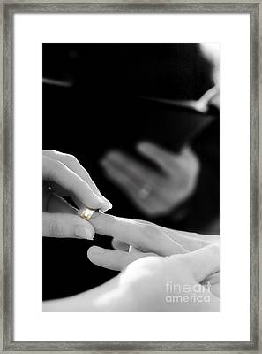 Rings Being Exchanged By A Bride And Groom Framed Print by Jorgo Photography - Wall Art Gallery