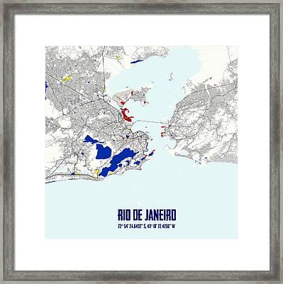 Rio De Janeiro Piet Mondrian Style City Street Map Art Framed Print by Celestial Images