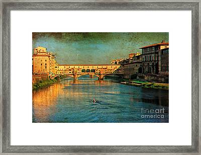 River Arno Framed Print by Nicola Fiscarelli