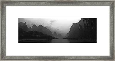 River Passing Through A Hill Range Framed Print by Panoramic Images