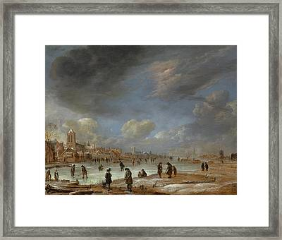 River View In The Winter, Aert Van Der Neer Framed Print
