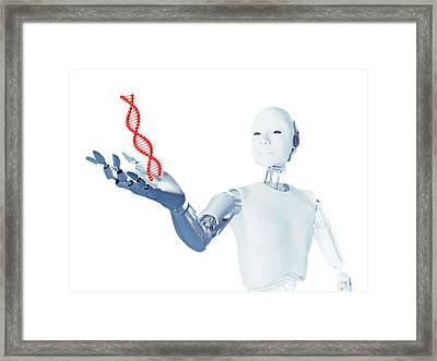 Robot Holding Dna Framed Print