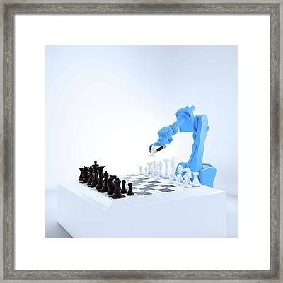Robotic Arm Playing Chess Framed Print