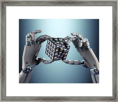 Robotic Hand Holding Cube Framed Print by Ktsdesign