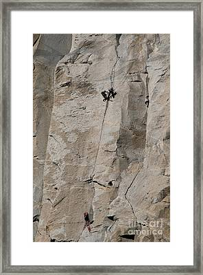 Rock Climber On El Capitan Framed Print by Mark Newman