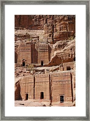 Rock Cut Tombs On The Street Of Facades Petra Jordan Framed Print by Robert Preston